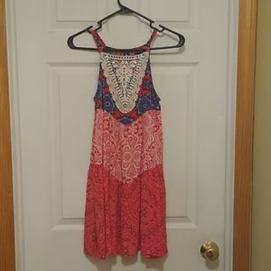 Red pattern sun dress